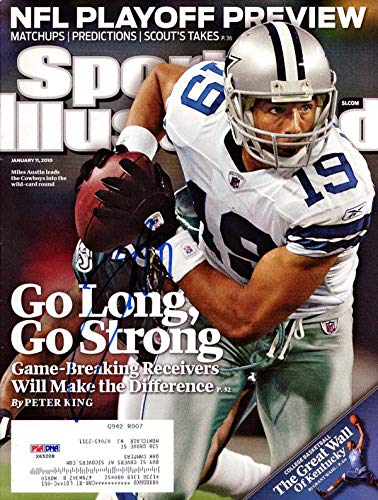 Miles Austin Autographed Sports Illustrated Magazine Dallas Cowboys #X65208 PSA/DNA Certified Autographed NFL Magazines