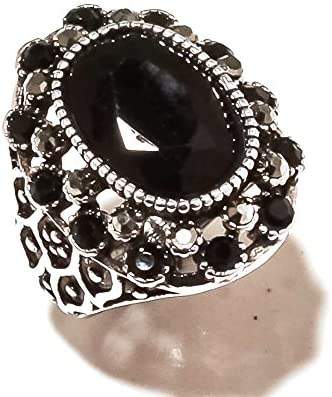 Fancy Cut Black Onyx Sterling Silver Overlay 8 Grams Ring Size 5.25 US Marks Design