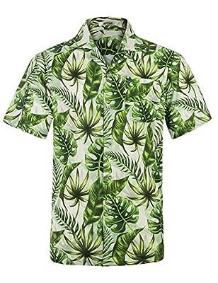 Men's Hawaiian Shirt Short Sleeve Beach Floral Shirt