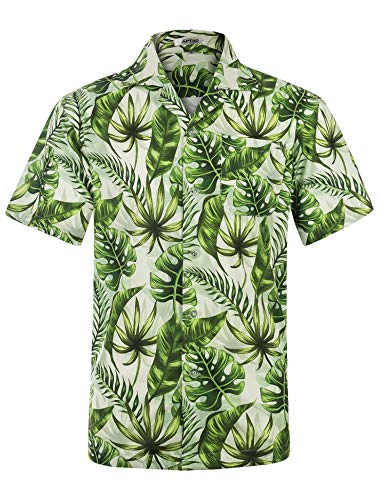 APTRO Men's Hawaiian Shirt Short Sleeve Floral Shirt HW032 XXL -