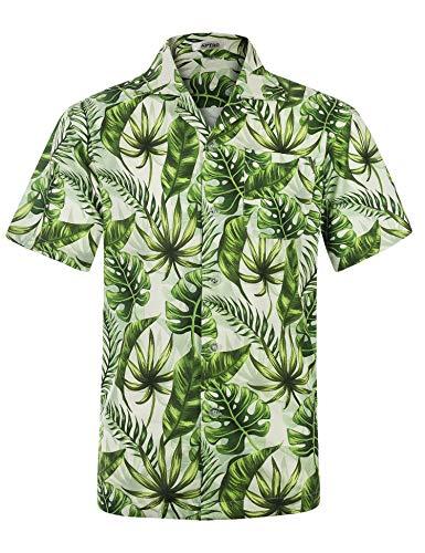 (APTRO Men's Hawaiian Shirt Regular Fit 4 Way Stretch Short Sleeve Button Down Tropical Shirts (S, Monstera Leaf))