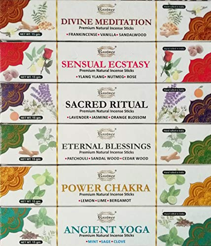 Variety Blend Sticks - raajsee Incense Sticks Aromatherapy Collection 6 Pack Variety Set 15gm Each, Magical Blends of Different Natural Herbs- 100% Pure Organic Natural Hand Rolled Free from Chemicals- Perfect for Church
