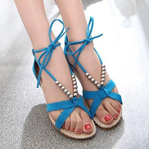String Slip Fashion Toe JULY Ladies on Slippers Sandals Womens T Walking Peep Dressy Platform Beaded Blue Comfy Bowknot 7pIxHwt