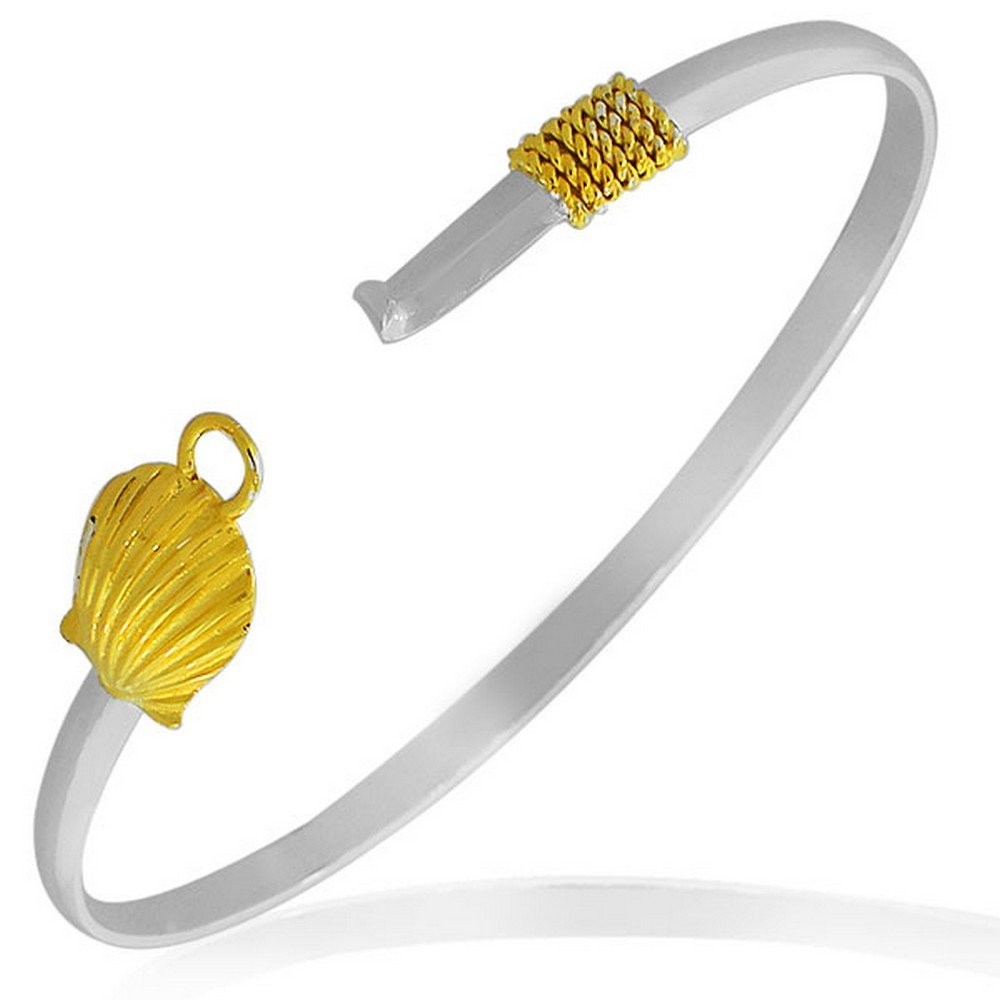 925 Sterling Silver Two-Tone Seashell Classic Oval-Shape Bangle Bracelet