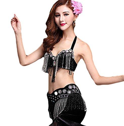 Sexiest Belly Dancing Costumes (Women Dance Costume Side Split Belly Dance Set Bra Set Tops Skirt Black S)