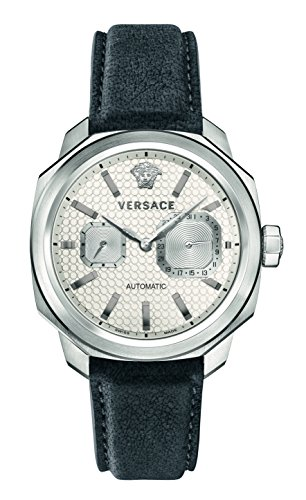 Versace Men's 'Dylos' Automatic Stainless Steel and Leather Casual Watch, Color:Grey (Model: - Vintage Mens Versace