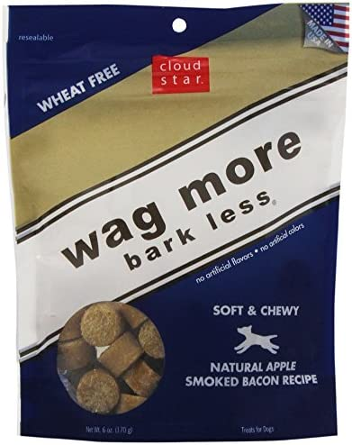 Cloud Star Wag More Bark Less Soft Chewy Dog Treats – Apple Smoked Bacon, 6-Ounce Pack of 4
