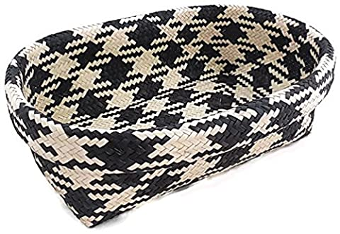 Oval Wicker Basket Decorative Storage Bin, Black and White Checkered Pattern - Satin Covered Card Box
