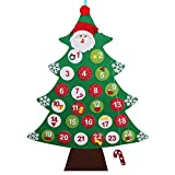 OurWarm Felt Christmas Advent Calender 2017 Wall Hanging Tree Calendars for Christmas Decorations