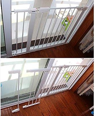 QIANDA Barrera de Seguridad Bebé Puerta de la Escalera Ancho Extra Barandilla De Aislamiento, Muro Fijo Metal Extensible Fuerte for La Entrada - Blanco (Size : 201-208cm): Amazon.es: Hogar