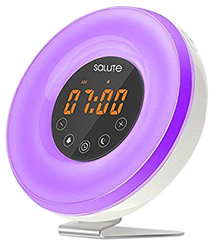Wake Up Light Salute Sunrise Simulator Alarm Clock 6 Nature Sounds FM Radio Touch Control 7 Color Night Light 11 Mode Brightness Smart Snooze Function With USB Charger for Heavy Sleepers