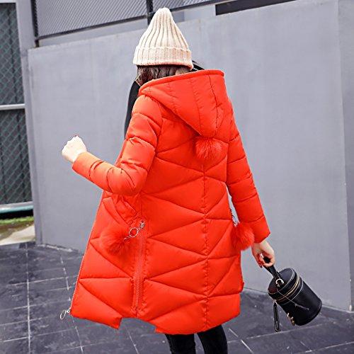 Down Hooded Women's Ladies Winter Packable Long Coat Autumn Bigood Orange 6q10RR