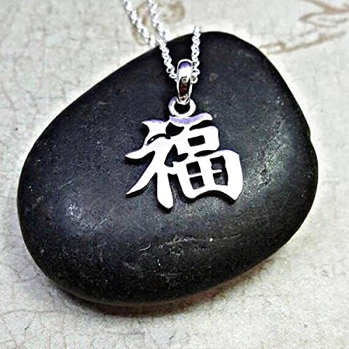 Amazon Good Luck Necklace Sterling Silver Kanji Character
