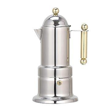 DWhui Máquina para Hacer Espresso - Moka Pot 4 Tazas Demitasse Toma para expreso - Prensa de café Acero Inoxidable para reuniones personales y con Amigos: ...