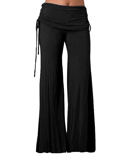 Mujer Pantalones Largos de Pierna Ancha Cintura Alta Pantalón Palazzo para  Yoga Casual Danza  Amazon.es  Ropa y accesorios 4620a34535f0