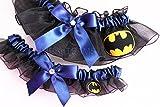 Customizable handmade - Black & Navy Blue - Batman fabric handcrafted keepsake bridal garters wedding garter set
