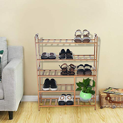 Heberry Home Shoe Rack Free Standing Bamboo Shoe Rack Wooden Stackable Entryway Organizer 5 ()