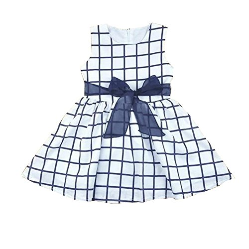 ONE'S 2017 Baby Toddler Girls Summer Check Front Bow-Knot Party Mini Dress (12-18 Months, Blue Grid)