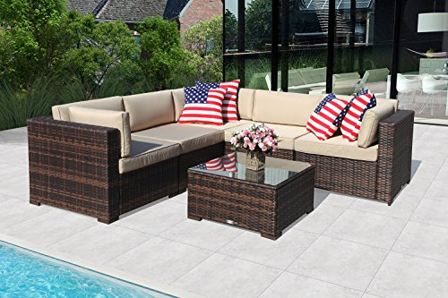 PATIOROMA Outdoor Furniture Sectional Sofa Set (6-Piece Set) All-Weather Brown PE Wicker with Beige Seat Cushions &Glass Coffee Table| Patio, Backyard, Pool| Steel Frame Brown Sectional Set