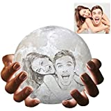 "Personalized Moon Lamp with Your Own Picture, 3D Printed 3 Colors Customized Moon Light with Wood Stand (5.9"")"