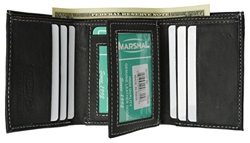 Price comparison product image 100% Leather Tri-fold Mens Wallet Black #961107