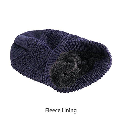 b007b0d492bc68 OMECHY Slouchy Beanie Hats Unisex Daily Knit Skull Cap Winter Warm Fleece  Soft Baggy Hat Ski Cap, Navy - Buy Online in UAE.   Apparel Products in the  UAE ...