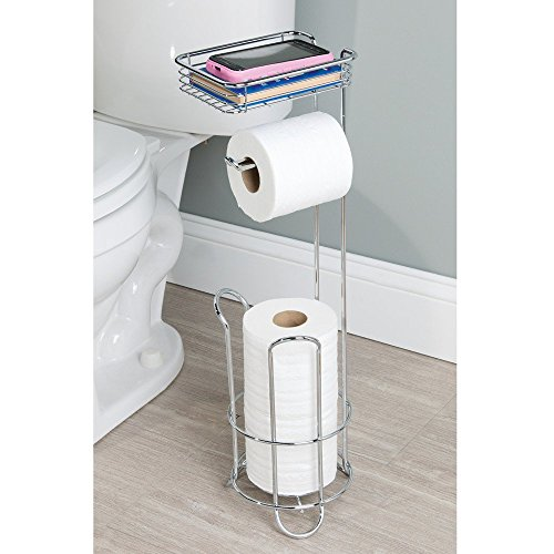 interdesign classico free standing toilet paper holder with shelf for new ebay. Black Bedroom Furniture Sets. Home Design Ideas
