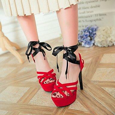 LvYuan Tacón Stiletto-Zapatos del club-Sandalias-Vestido Informal-Semicuero-Negro Azul Rojo Red