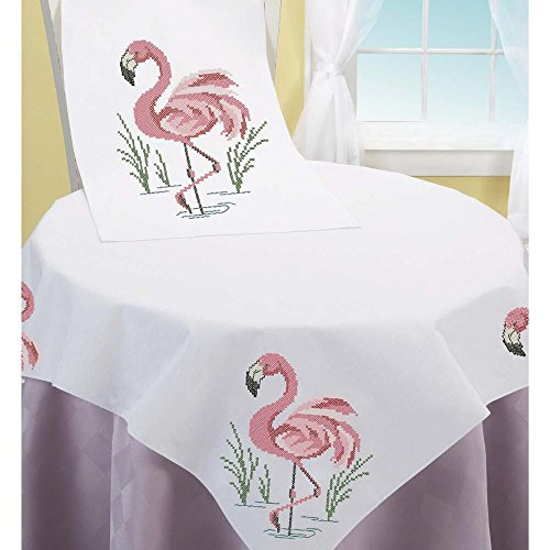 Herrschners® Pink Flamingos Table Topper & Runner Stamped - Table Stamped Embroidery Topper