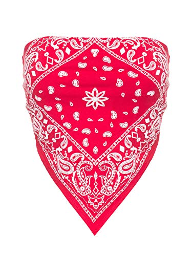 Instar Mode Women's Sexy Paisley Bandana Tube Crop Top Shirt- Made in USA Red L