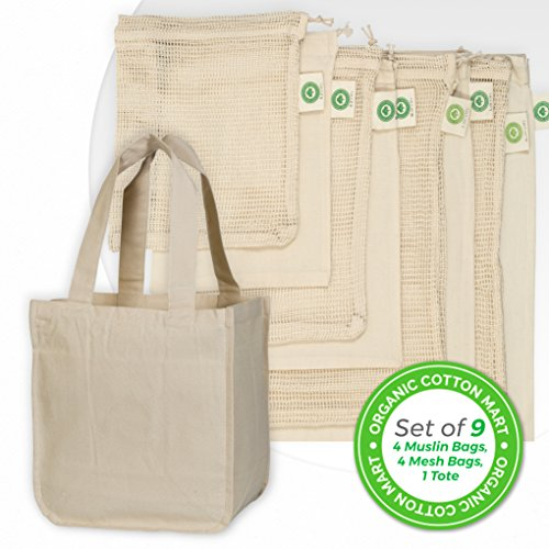 Best Reusable Grocery Bags Set - Cotton Reusable Grocery Shopping Bags Includes 4 Muslin Fabric Bags, 4 Cotton Mesh Bags and 1 Bonus Cotton Tote Bag - Bundle Best Eco-friendly Grocery Bags Set