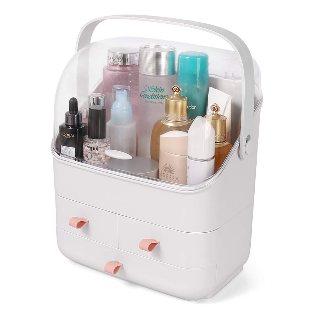 Makeup Organizer Box, Cosmetic Storage Box with Drawers, Handle, Fully Open Waterproof Dustproof Lid, Great for Bathroom, Dresser, Vanity and Countertop