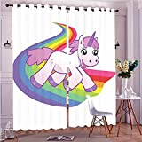 run before the wi - Two Panel Set Window Curtain Cartoon Decor Baby Unicorn Runs On The Rainbow Mythological Fantasy Legendary Creature Wi Polyester Window Treatments For Bedroom Diningroom Livingroom Dorm, 108