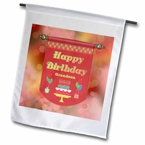 3dRose fl_186391_1 Happy Birthday Grandson Banner, Cake w...