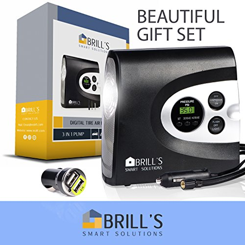 BRILL'S 12V DC Portable Tire Inflator Pump, 150 Psi Electric Air Compressor for Cars, Bikes, Motorcycles and Balls. Carry Case and USB Car Charge Included by BRILL'S SMART SOLUTIONS (Image #7)