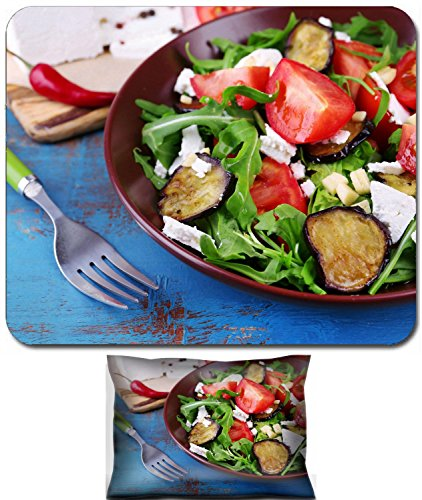 Luxlady Mouse Wrist Rest and Small Mousepad Set, 2pc Wrist Support design IMAGE: 34165140 Eggplant salad with tomatoes arugula and feta cheese on napkin on color wooden background