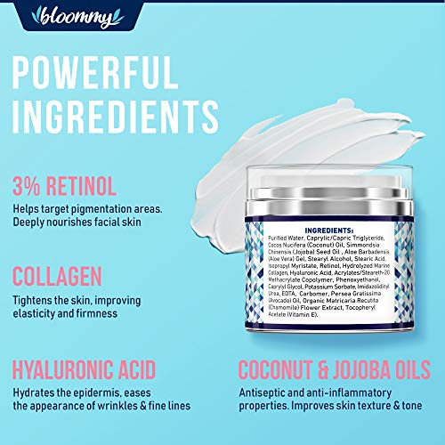 BLOOMMY Collagen & Retinol Cream - Made in USA - Collagen Anti Aging Cream for Face with Hyaluronic Acid - Day & Night Retinol Moisturizer - Anti Wrinkle Facial Cream - 1.7 oz