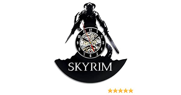 Skyrim tipo vinilo Reloj de pared Regalo habitaciones moderna Home ...