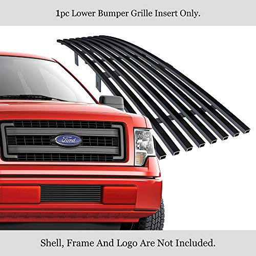 APS Compatible with 2009-2014 Ford F-150 Lower Bumper Stainless Steel Black 8x6 Horizontal Billet Grille Insert F66789J