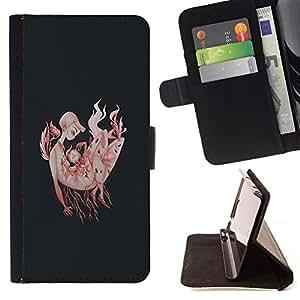 BullDog Case - FOR/LG Nexus 5 D820 D821 / - / FLAMES ROOT VIGNETTE BLACK ART DEEP /- Monedero de cuero de la PU Llevar cubierta de la caja con el ID Credit Card Slots Flip funda de cuer