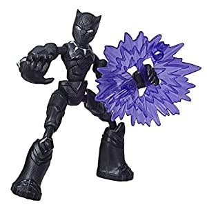 Avengers Marvel Bend and Flex Action Figure Toy, 6-Inch Flexible Black Panther Figure, Includes Blast Accessory, for Kids Ages 4 and Up