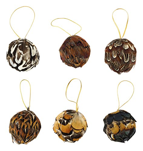 ZUCKER  Assorted Feather Christmas Ornament Natural ball - 1.5