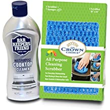 BAR KEEPERS FRIEND Cooktop Cleaner Kit (13 OZ) with Large Odor Free Scrubber Cloth | Multipurpose, Glass Ceramic Stovetop, Cooktops Cleaner