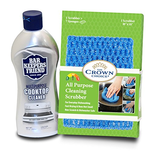 BAR KEEPERS FRIEND Cooktop Cleaner Kit. Liquid (13 OZ) and Non Scratch Scouring Dishcloth | Multipurpose, Glass Ceramic Stovetop, Soft Cleaner and Non Scratch Dish - Scratches Best Remove To Polish