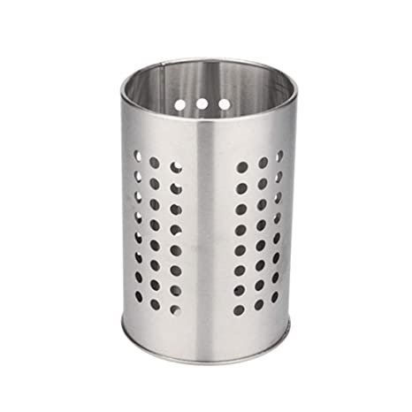 Comtervi - Portautensilios de Cocina de Acero Inoxidable, Cesta de Cocina o Porta Accesorios de Cocina. Organización de la Cocina fácil 12 x 18 cm.