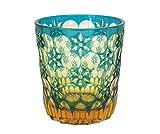 Ohba Glass Old-Fashoned Cut Glass Edo Kiriko, Japanese Traditional Craft in Gift Box Kaleidoscope (Green/Amber)