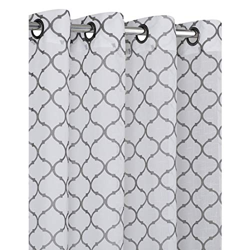 2 Pack: Morgan Premium Semi Sheer Flocked Lattice Grommet Curtains - Assorted Colors (Grey) (Drapes Semi Sheer)