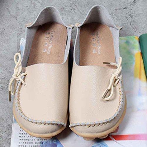 de cuero de suaves zapatos del los planos holgazanes Mujer los ocio Beige Vovotrade de zapatos EqtwHnUx