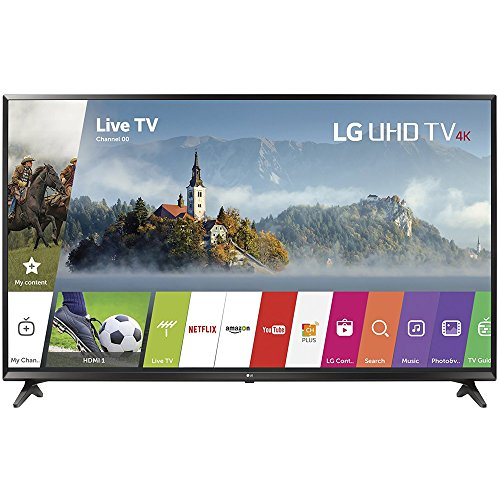 LG 49' Super UHD 4K HDR Smart LED TV 2017 Model (49UJ6300) with 2x 6ft High Speed HDMI Cable, Transformer Tap USB, Universal Screen Cleaner for LED TVs & 1 Year Extended Warranty for Products