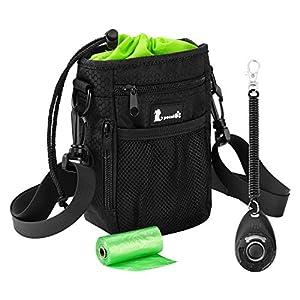 Dog Treat Bag with Built-In Poop Bag Dispenser, Waterproof, Adjustable Waist/Shoulder Strap, Multiple Pockets for Carrying Treat, Toys, Food